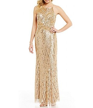 Aidan Mattox Halter Neck Sleeveless Beaded Gown