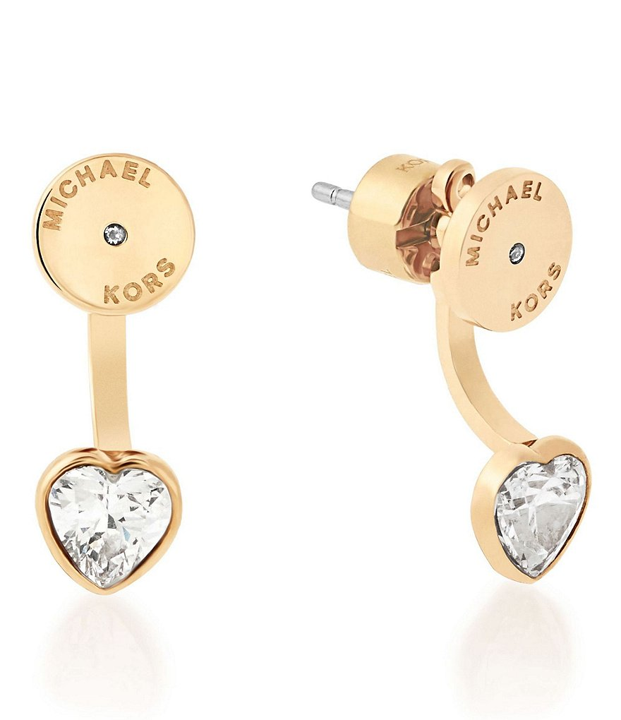 Michael Kors Cubic Zirconia Heart Front/Back Earrings