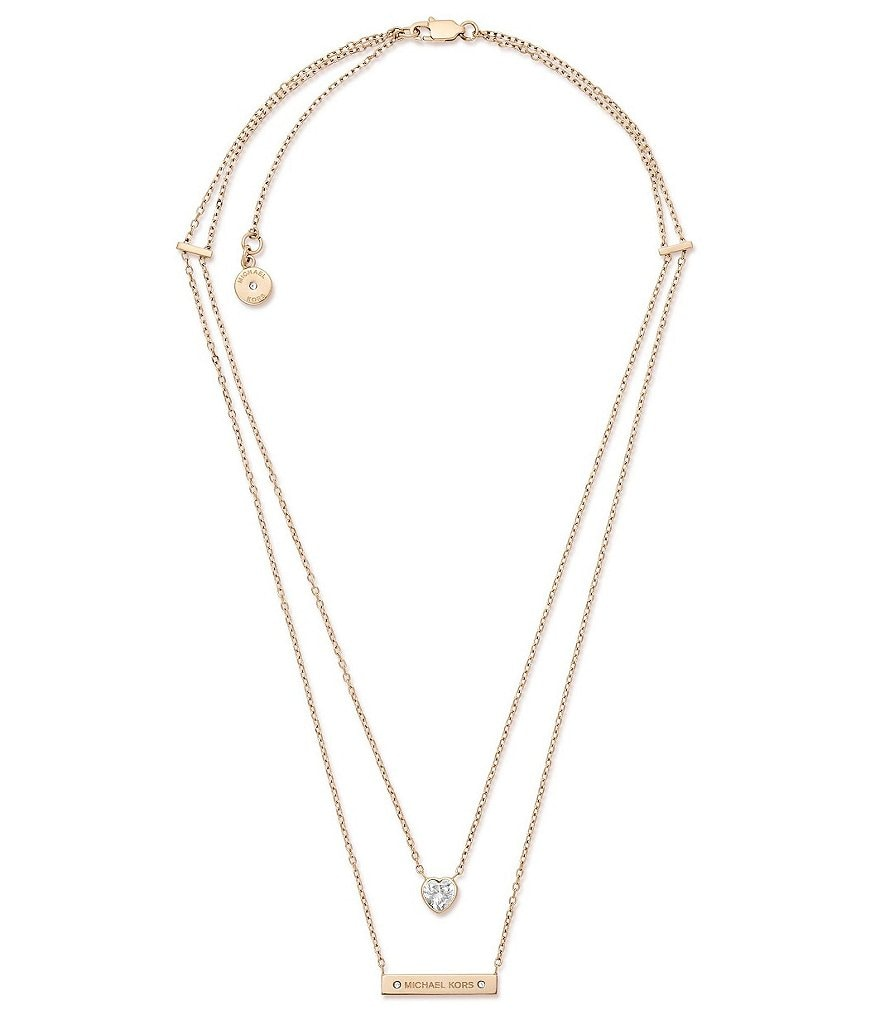 Michael Kors Heart & Logo Bar Pendant Necklace