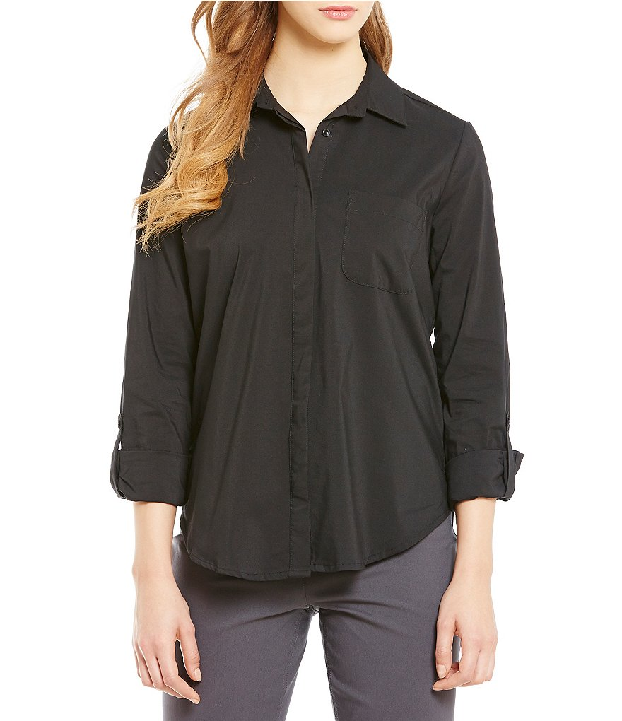 Westbound Point Collar Roll-Tab Sleeve Button Back Shirt