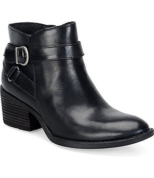 Born Binghamton Leather Side Zip Closure Buckle Bootie