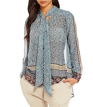 William Rast Moroccan Border Print Tie Front Blouse