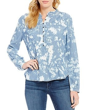 William Rast Anastasia Abstract Print High-Low Long-Sleeve Blouse