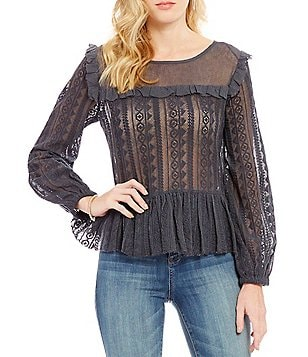 William Rast Christine Long-Sleeve Ruffle Peplum Top