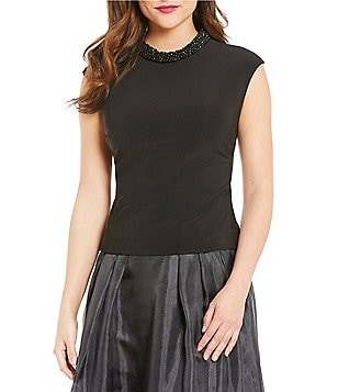 J.R. Nites Cap-Sleeve Beaded Roll-Neck Top