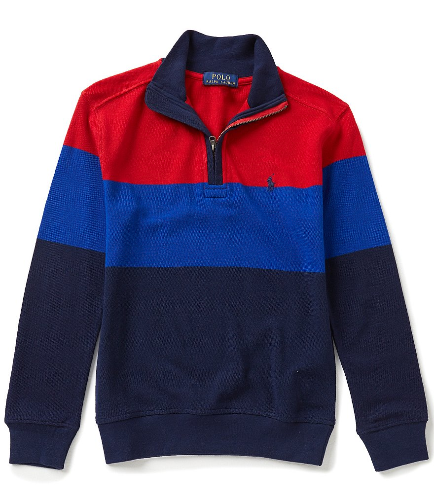 Ralph Lauren Childrenswear Big Boys 8-20 Color Block Striped Half-Zip Mesh Tee