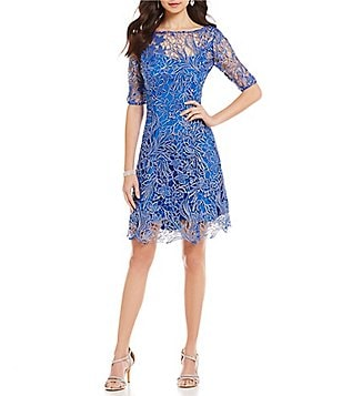 Kay Unger Corded Lace Fit-and-Flare Dress