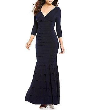 Kay Unger Tiered V-Neck 3/4 Sleeve Banded Jersey Gown
