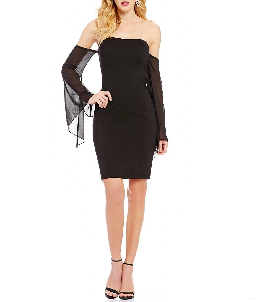 Mystic Long-Sleeve Off-The-Shoulder Bell-Sleeve Sheath Dress