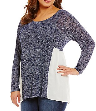 Moa Moa Plus Side Split Shirttail Hem Sweater