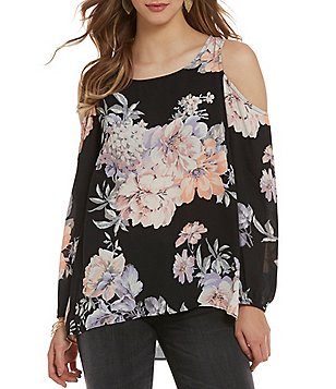 Moa Moa Cold Shoulder Floral Top