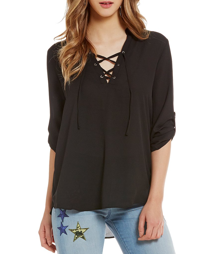 Moa Moa Lace-Up Roll-Tab Sleeve Tunic