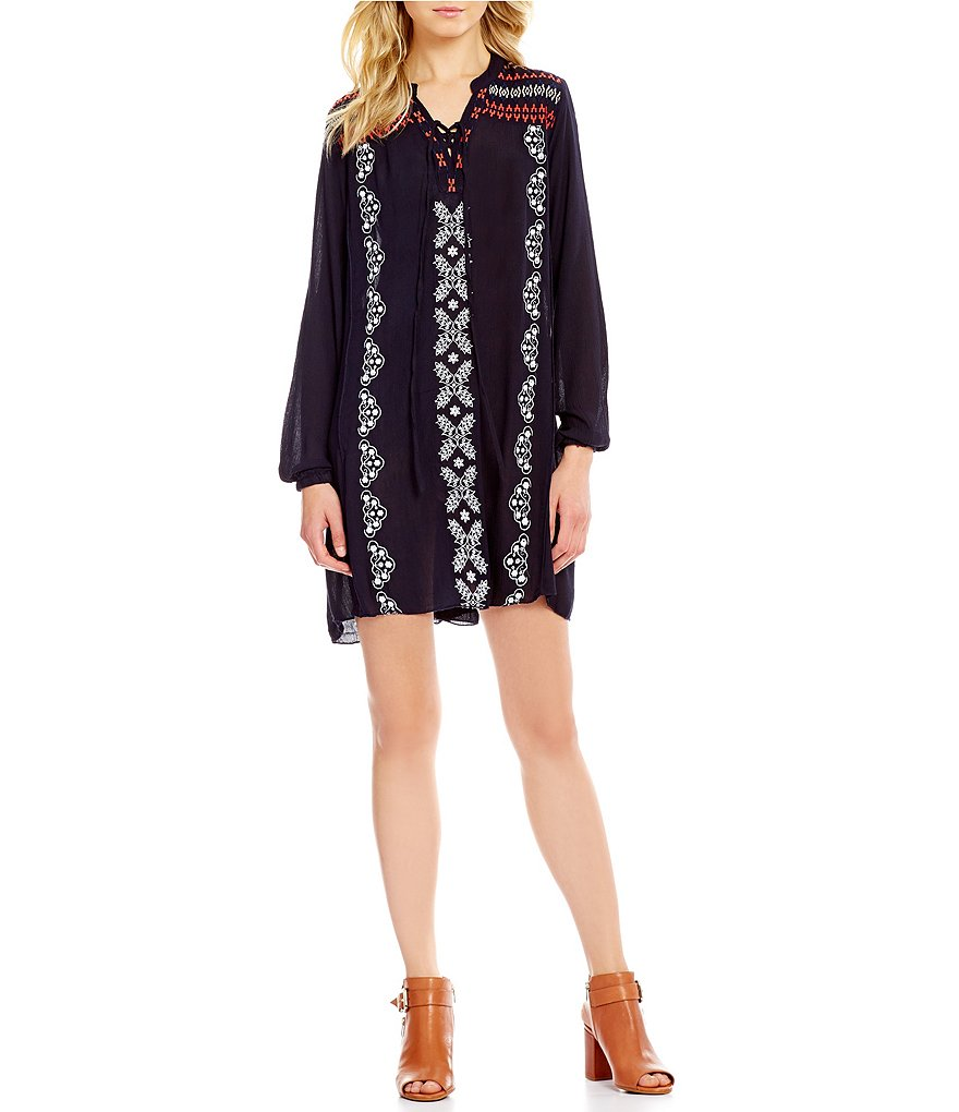 Chelsea & Theodore Split Neck Long Sleeve Embroidered Hi-Low Dress