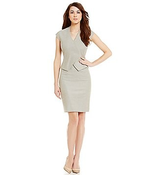 Antonio Melani Emeli Herringbone Peplum Cap Sleeve Dress