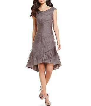 Kay Unger Ruffled Tiered Organza Asymmetrical Hem Dress