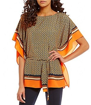 MICHAEL Michael Kors Equestrian Bridle Scarf Print Belted Kimono Tunic