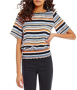 MICHAEL Michael Kors Short Sleeve Smocked Hem Multi Stripe Print Crepe Top