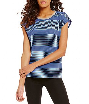 MICHAEL Michael Kors Metallic Crew Neck Engineered Stripe Print Knit Top