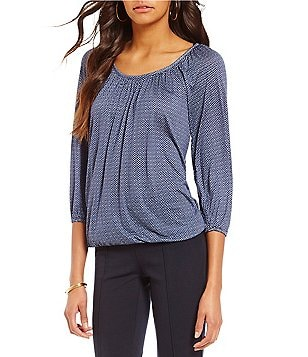MICHAEL Michael Kors Chevalier Texture Print Knit Jersey Scoop Neck 3/4 Sleeve Peasant Top