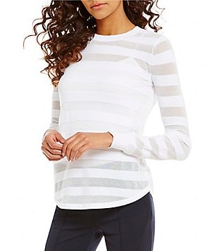 MICHAEL Michael Kors Sheer Stripe Ribbed Crew Neck Long Sleeve Sweater