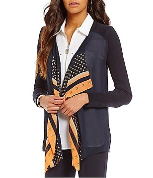 MICHAEL Michael Kors Woven Pattern Mix Open Draped Front Fine Gauge Knit Cardigan