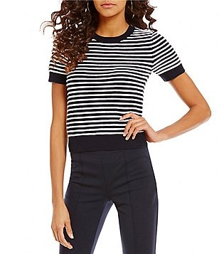 MICHAEL Michael Kors Striped Ottoman Knit Short Sleeve Sweater