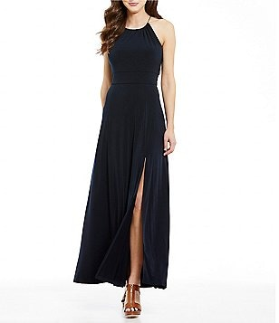 MICHAEL Michael Kors Braided Halter Neck Sleeveless Side Front Slit Maxi Dress
