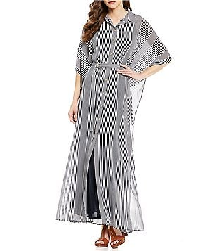 MICHAEL Michael Kors Corsican Stripe Belted Side Long Sleeve Ruffle Maxi Dress