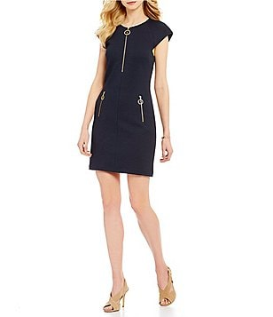 MICHAEL Michael Kors Exposed Zipper Textured Knit Cap Sleeve A-Line Dress