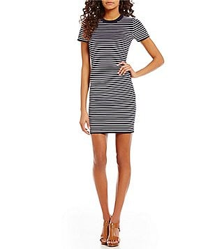 MICHAEL Michael Kors Ottoman Rib Short Sleeve Stripe Knit Dress