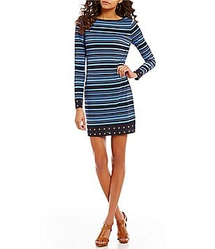 MICHAEL Michael Kors Long Sleeve Stripe Print Matte Jersey Sheath Dress
