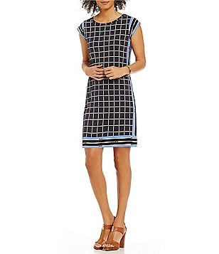 MICHAEL Michael Kors Cap Sleeve Dressage Border Print Matte Jersey Dress