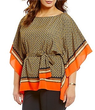 MICHAEL Michael Kors Plus Equestrian Bridle Scarf Print Belted Kimono Tunic