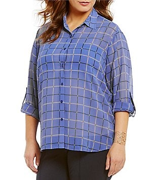 MICHAEL Michael Kors Plus Multi Dressage Print Roll Sleeve Hi-Low Hem Shirt