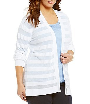 MICHAEL Michael Kors Plus Sheer Stripe Open-Front Cardigan