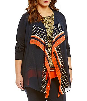 MICHAEL Michael Kors Plus Woven Pattern Mix Open Front Fine Gauge Knit Cardigan