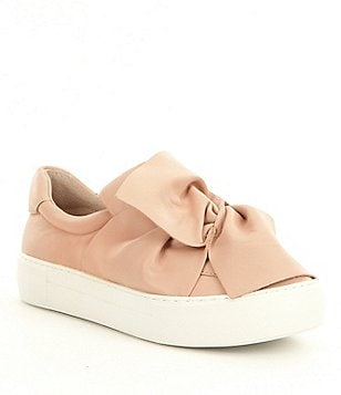 JSlides Annabelle Leather Big Bow Detail Slip On Flatform Sneakers