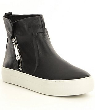 JSlides Astin Leather Side Zip High Top Sneakers