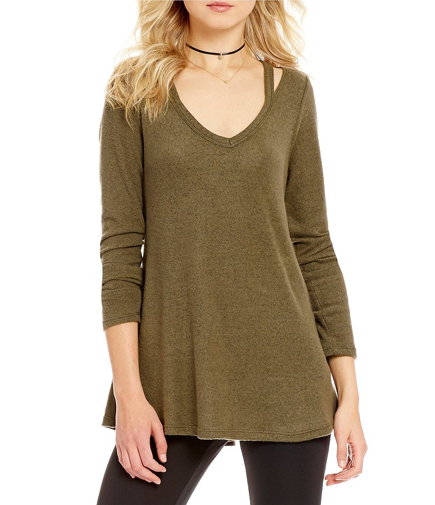 Moa Moa Long-Sleeve V-Neck Cutout Shoulder Tee