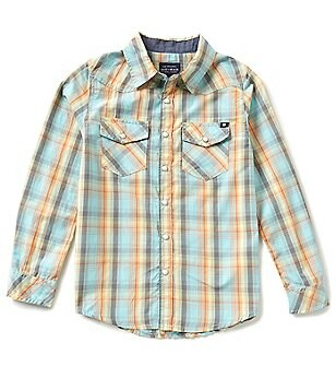 Lucky Brand Big Boys 8-20 Point Collar Long Sleeve Plaid Poplin Shirt