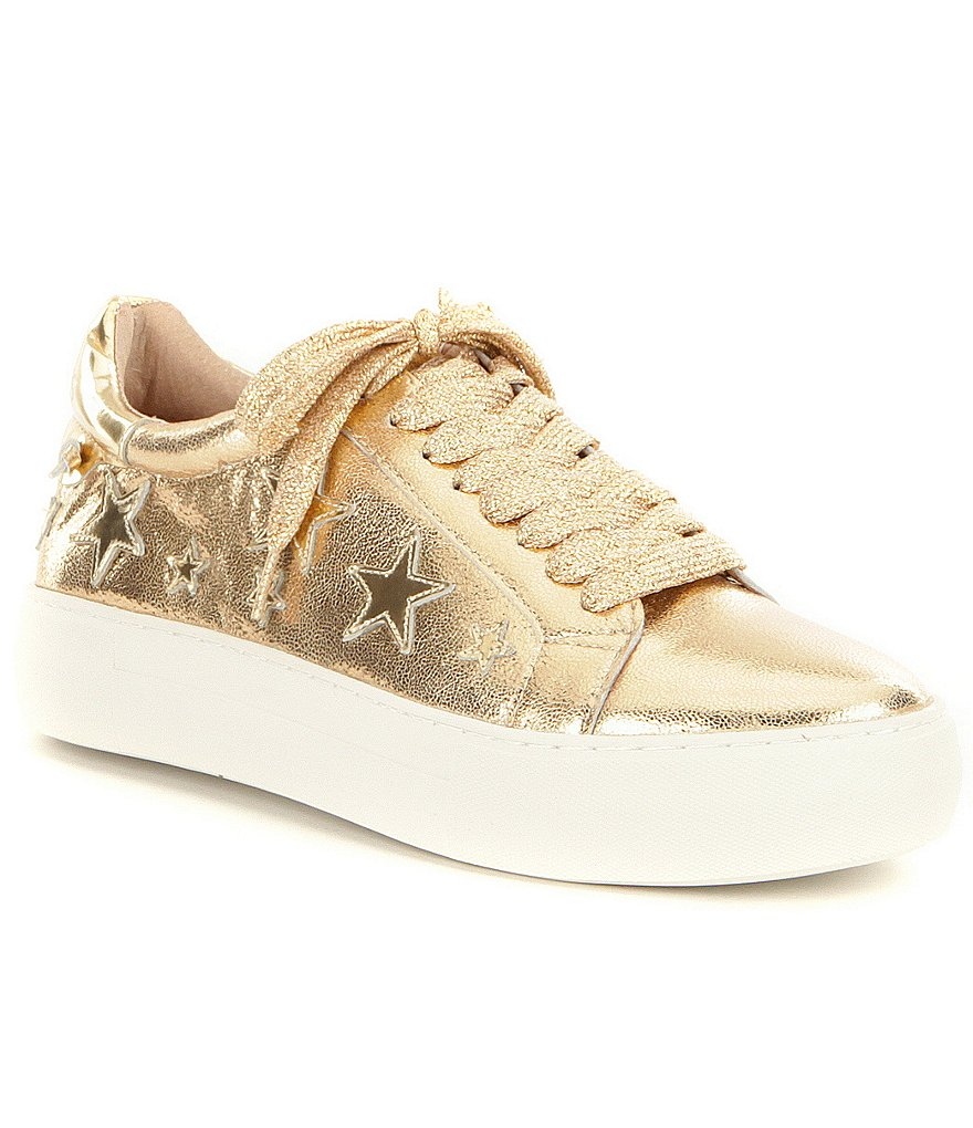 JSlides Alabama Metallic Leather Star Detail Lace Up Flatform Sneakers