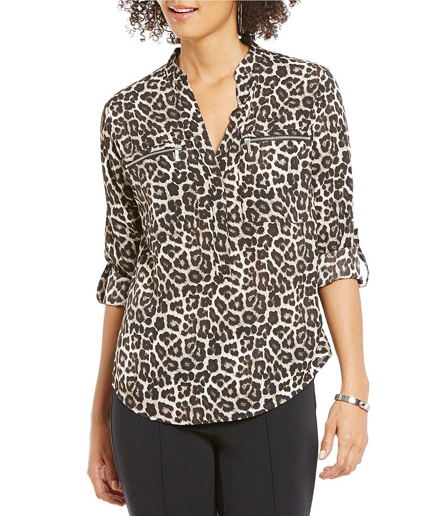 MICHAEL Michael Kors Leopard Print Roll-Sleeve Zip Pocket Top