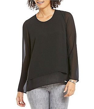 MICHAEL Michael Kors Split-Back Layered Long Sleeve Top