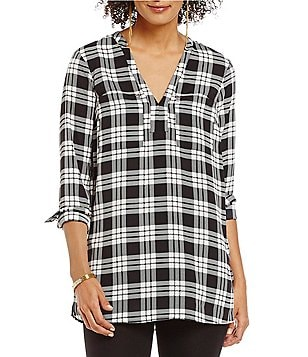 MICHAEL Michael Kors Plaid Pebble Crepe Long Sleeve Henley Tunic