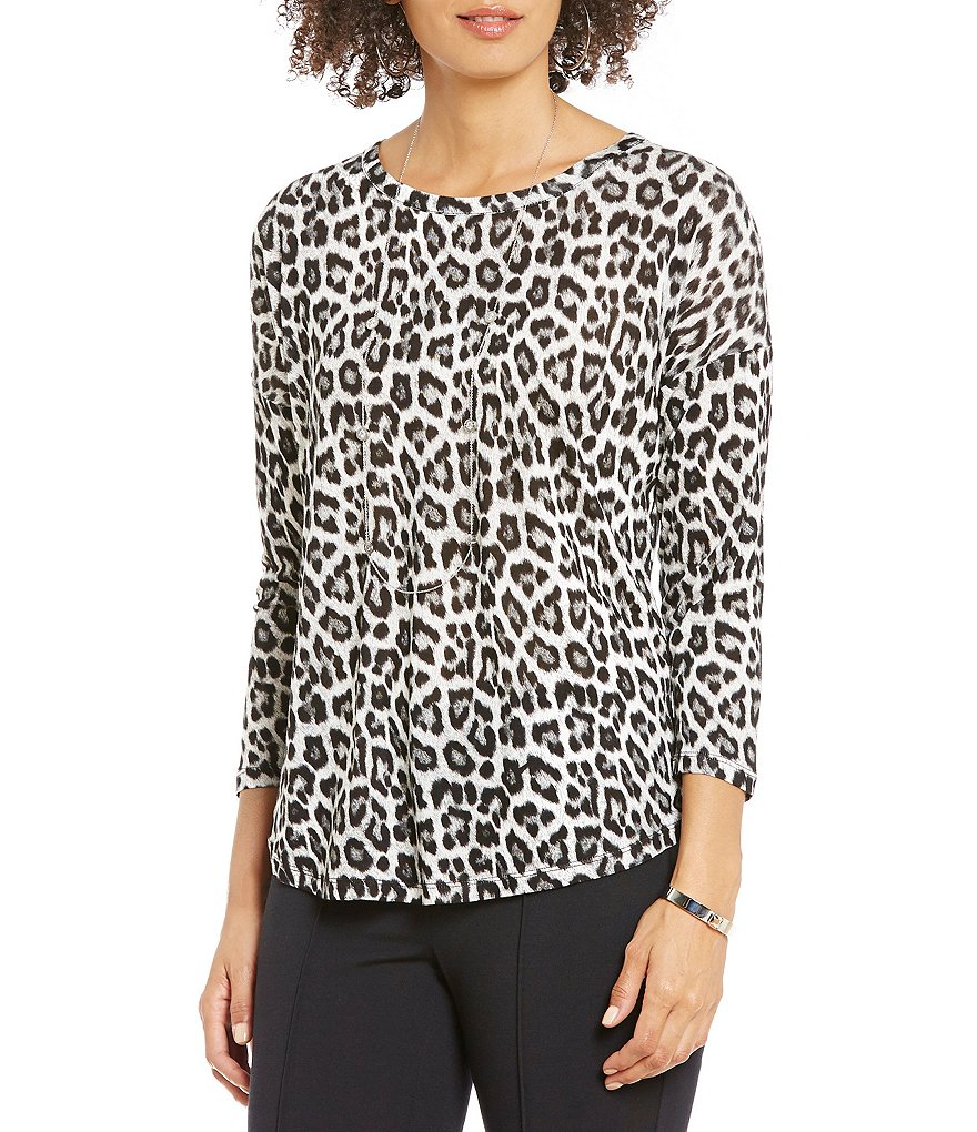 MICHAEL Michael Kors Leopard Print Knit Jersey 3/4 Sleeve Drop Shoulder Top