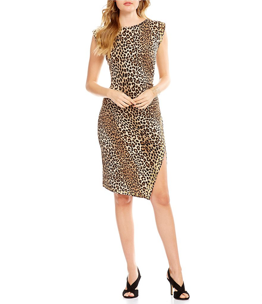 MICHAEL Michael Kors Stud Trim Side Slit Panther Print Matte Jersey Dress
