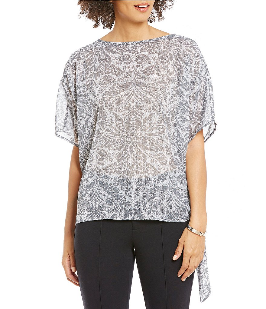 MICHAEL Michael Kors Hamilton Floral Crinkled Metallic Stripe Georgette Side-Tie Top