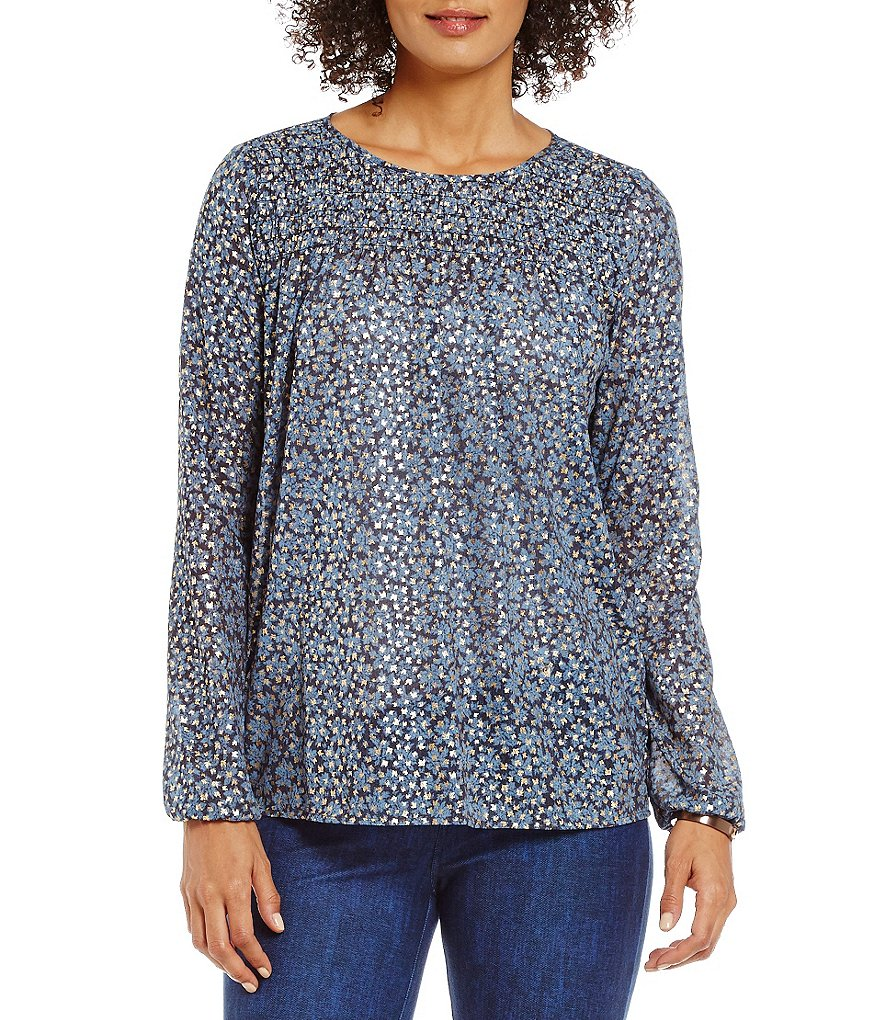 MICHAEL Michael Kors Bayeux Floral Foil Printed Georgette Smocked Yoke Top