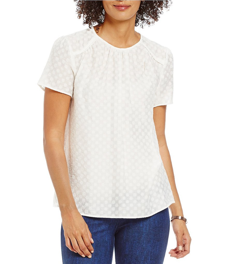 MICHAEL Michael Kors Clipped Dot Jacquard Short Sleeve Top