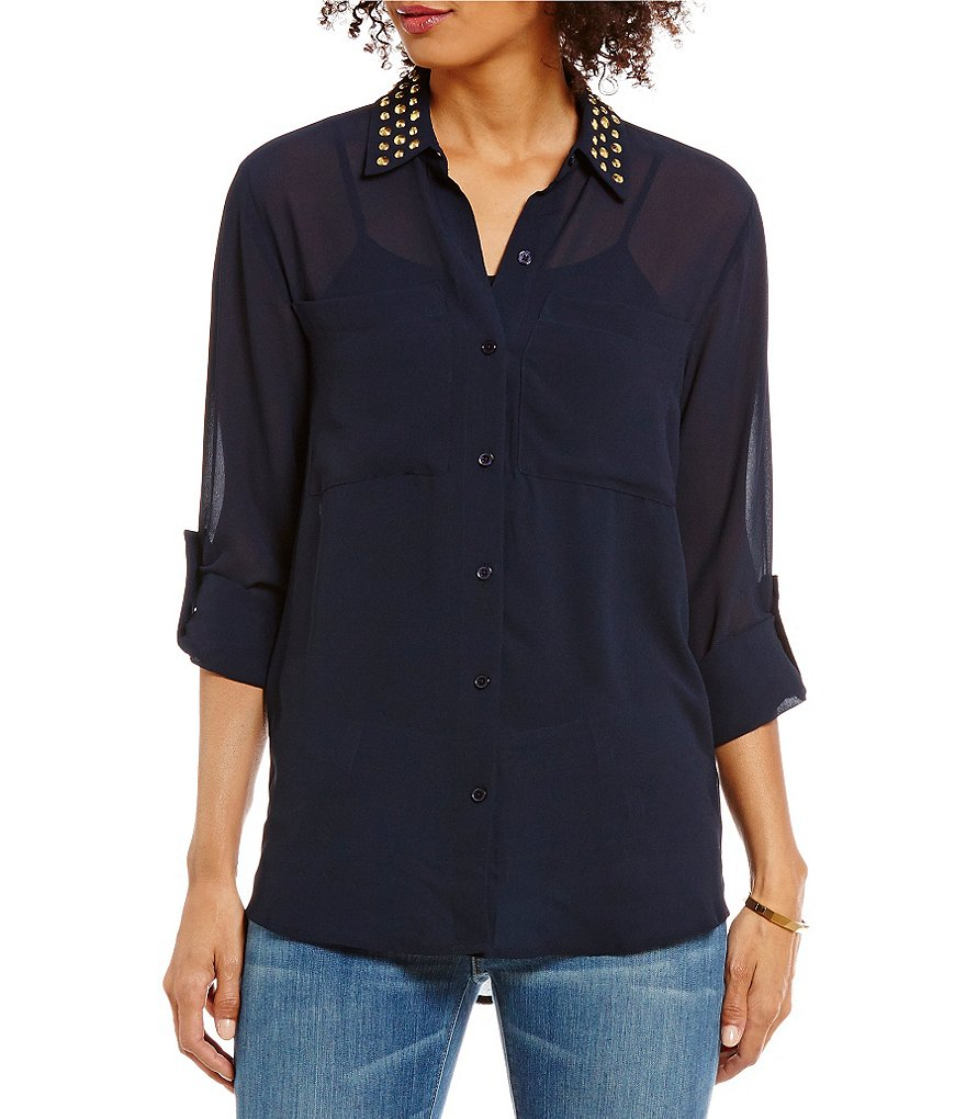MICHAEL Michael Kors Dome Stud Embellished Collar Roll Sleeve Georgette Shirt